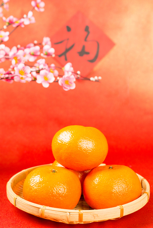Chinese orange fruit mean good luck and prosperous for New year.