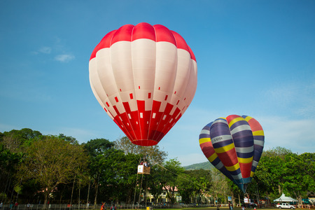 come in: PENANG,MALAYSIA - Feb 10,2016 :Penang Hot Air Balloon Fiesta ,People Malaysian come to join activity together in Penang Malaysia.
