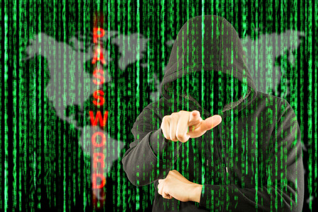 hack: Hackers programmer look and search data for hack information and user account. Stock Photo