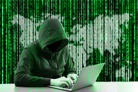 hacker: Hackers programmer look and search data for hack information and user account. Stock Photo