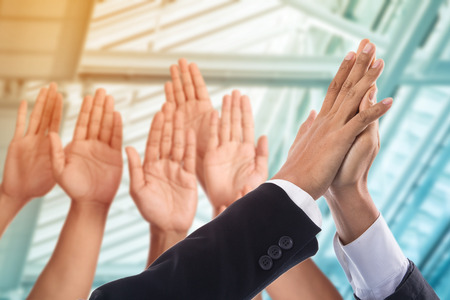 give me five: Give me five your hand for good business. Stock Photo