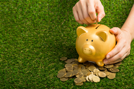 Saving your money with piggybank ,save your deoposit currency for security personal financial Stock Photo