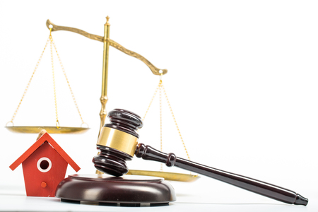 punishment: Justice your home for punishment to lawyer with white background. Stock Photo
