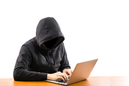 ber: Hackers programmer look and search data for hack information and user account. Stock Photo