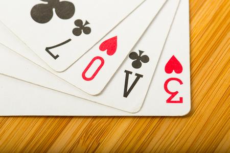 jeu de carte: poker card game arrange love text for valentine day.