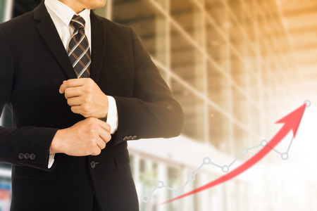 to go up: Business growth go up chart with double double exposure concept. Stock Photo