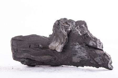 combust: Traditional charcoal wood with white background. Stock Photo