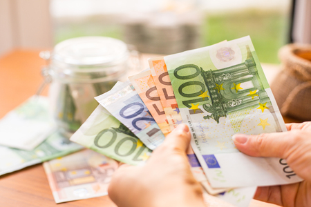 credit union: Euro money bank for your budget to investment. Stock Photo