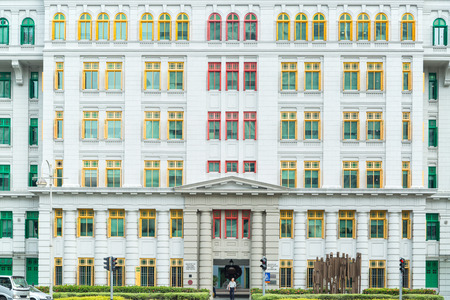 singapore culture: SINGAPORE - March 17 2015: Ministry of culture community and youth (MICA) building. Colorful window where is Old Hill Street Police Station in Singapore. Stock Photo