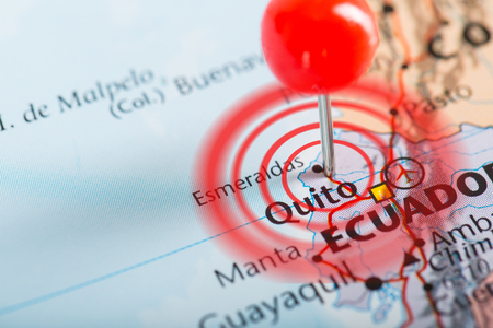 pin point: Ecuador earthquake with map pin point damage and loss. Stock Photo