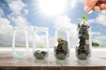 mutual fund: Save money for prepare in the future. Stock Photo