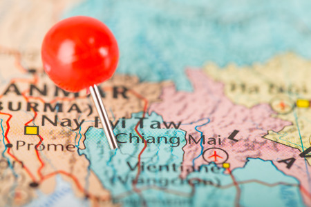 pin point: Chiang mai pin point big city of Thailand Stock Photo