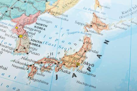 geografia: Japón detalles de los mapas de geografía concepto