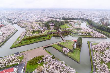 Goryokaku-Park-Draufsicht, wo der Stern des Gebäudes für den Stadtschutz 1855 schützen ist und viele Arbeiter verwenden, um es in Hakodate, Hokkaido, Japan zu bauen Standard-Bild - 58603079