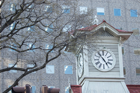 sapporo: Sapporo Tower Clock vintage and historic style. Editorial