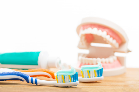 toothbrushing: Toothbrush dental care for your healthy mouth concept Stock Photo