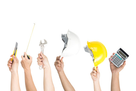 Tools working hand holding equipment set with isolated white background.