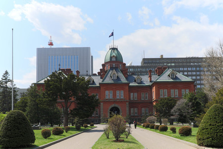 governing: SAPPORO ,JAPAN-April 25 ,2016: Former Hokkaido Government Office where is conrstructed with red bricks of western style for people and tourism to visit museum inside in Sapporo City,Japan