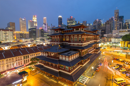 toothe: CHINA TOWN ,SINGAPORE ;June 12 ,2016: Buddha Toothe Relic Temple ,China Town area in Singapore where Chinese people come to do activity together in this area. Editorial