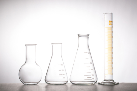 glassware: Chemistry flask glassware for test laboratory.