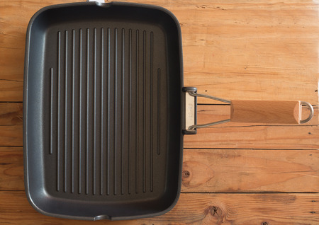 stell: Grill pan stell for cook meat Stock Photo