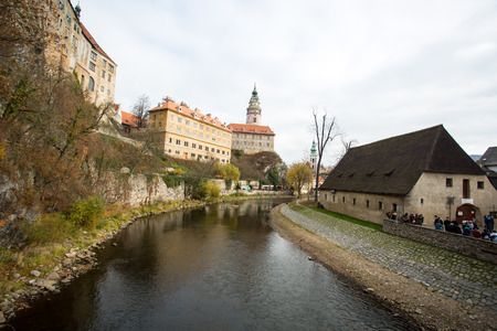 krumlov: CESKY KRUMLOV ,CZECH REPHUBLIC -NOV 12 2015 : Colorful village town Cessky krumlov in  czech republic where famous tourist people visit.