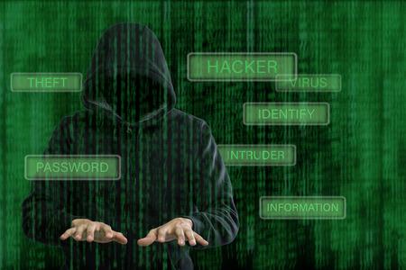 hack: Computer hackerpreparing for hack your information.Cyber crime thief.