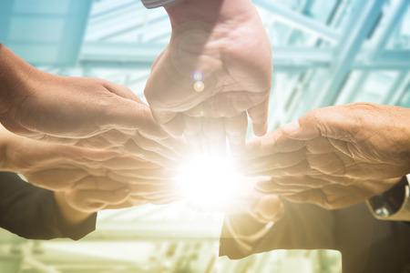 la union hace la fuerza: Teamwork business.Businessman people group agreement together.