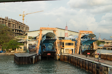 civilian: PENANG ,MALAYSIA - June 10 2016: Ferry harbor heritage station for tranaport passenger and vehicle from another place to Weld Quay Penang Georgetown Malaysia.