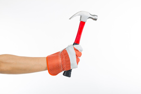 Hammer handyman industry isolated with white background.
