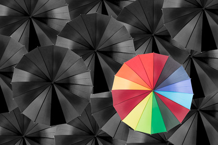 protection concept: Holding colorful umbrella for saving money. Protection investment concept. Stock Photo