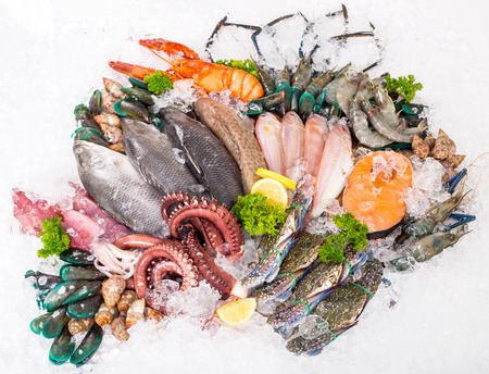 Seafood market sea raw material with white background.