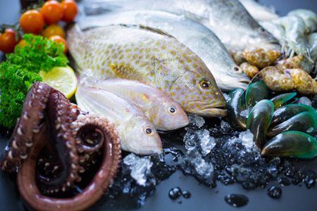 Seafood market, fresh raw material for prepare cooking. Stock Photo