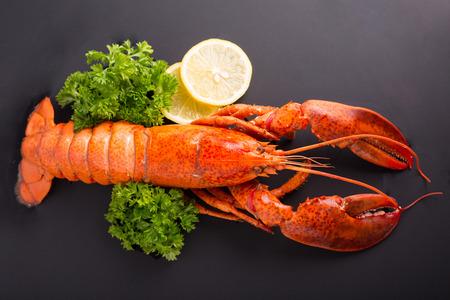 グルメ ディナー背景にカナダ産オマール海老料理