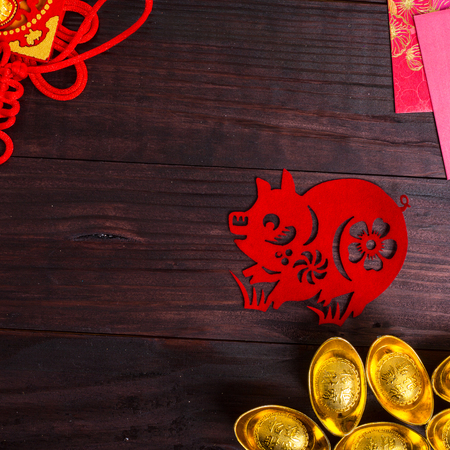 chinese new year dragon: Year of Pig ,Chinese zodiac animals paper cut Stock Photo