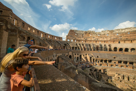 ROME,ITALY - OCT 18 ,2016: Colosseum rome view ,history famous landmark historic of italy.Italian and tourist people come to visit in this building.
