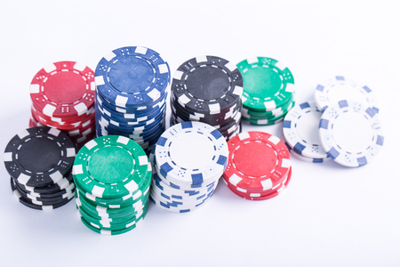Poker chips for casino game on the table. Stock Photo