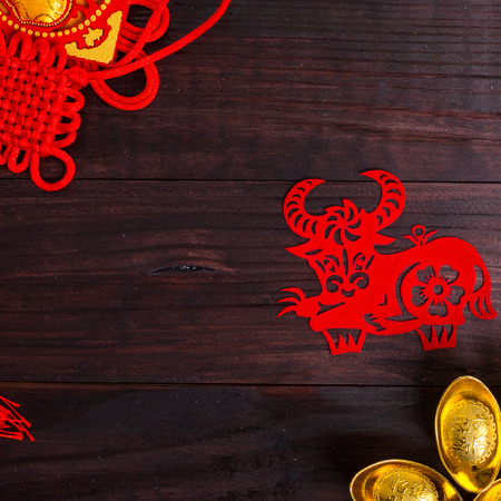 year of snake: Year of Ox ,Chinese zodiac animals paper cut