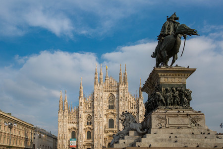 Milano cathedral duomo center of city in the morning. Stock Photo