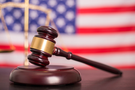 Justice law scales and wooden hammer for judgement. Stock Photo