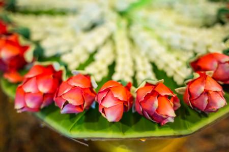 Thai wreath flower in the hotel. Stock Photo