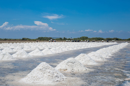 Wonderful salt raw material in Thailand with blue sky.