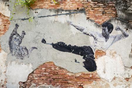 ジョージタウン、ペナン、マレーシア-2015 年 3 月 26 日頃: 公共ストリート アート ブルース ・ リーは、マレーシア、ペナンのジョージタウンに壁に