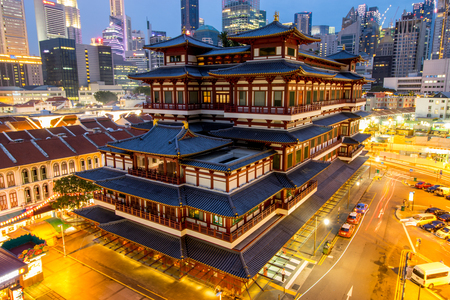 CHINA TOWN ,SINGAPORE - JUNE 4 ,2016 :China town temple for buddhist people come to respect in Singapore. Editorial