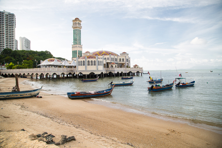 PENANG,MALAYSIA -JUN 11,2015: Penang floating  mosque in georgetown area for islamic come to respect in Penang ,Malaysia.