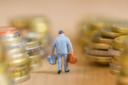 gardian: Retire old man take care by gardian  with money background Stock Photo