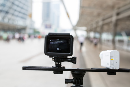 BANGKOK,THAILAND - April 5 ,2017 :SONY Action cam FDR-x3000 and gopro hero 5during capture picture and video in Bangkok Thailand. Editorial