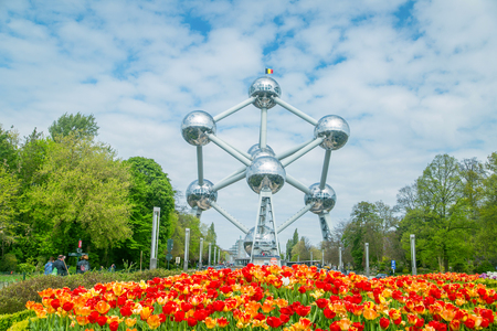 BRUSSELS ,BELGIUM - April 24 ,2017: Atomium structure and landmark building for Eruopen meeting Engineer by Andre Waterkeyn for Brussels Worlds Fair in 1958.