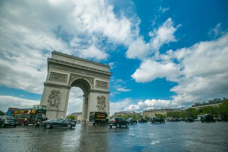 PARIS,FRANCE - April 27 ,2017:Champs-Elysees center of Place Charles de Gaulle traffic in Paris city ,France.