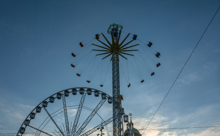 Amusement park with blue sky in Amsterdam.